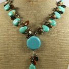 TURQUOISE TIGER EYE CAT EYE CORAL PEARLS NECKLACE