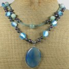 BLUE AGATE AMAZONITE CAT EYE PEARLS 2ROW NECKLACE