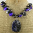SODALITE BLACK AGATE CAT EYE PEARLS NECKLACE