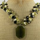 OLIVE FIRE AGATE YELLOW JADE CRYSTAL PEARLS NECKLACE