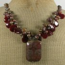 IMPERIAL JASPER RED CARNELIAN TIGER EYE PEARLS NECKLACE