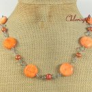 ORANGE CORAL & FRESH WATER PEARLS NECKLACE