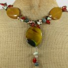 20 YELLOW AGATE RED CARNELIAN TIGER EYE NECKLACE