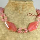 PINK FIRE AGATE CHERRY QUARTZ FW PEARL NECKLACE