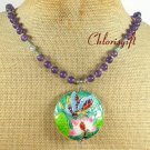 LOTUS BUTTERFLY CLOISONNE PURPLE JADE NECKLACE