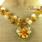 FLOWER LAMPWORK YELLOW JADE CRYSTAL PEARLS NECKLACE