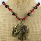 COPPER ELEPHANT & BLACK AGATE & CRYSTAL NECKLACE