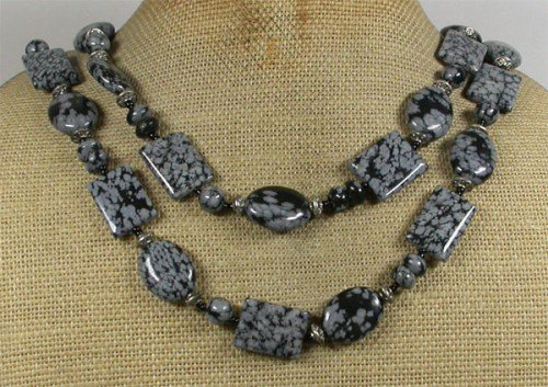 LONG! 40 NATURAL SNOWFLAKE OBSIDIAN NECKLACE