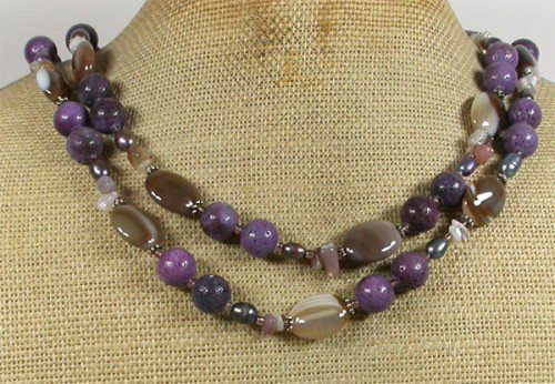 LONG! 40 PURPLE CORAL BROWN LACE AGATE NECKLACE
