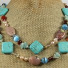 LONG! 40 TURQUOISE RED AGATE FLOWER JASPER NECKLACE