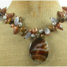 BROWN AGATE TIGER EYE CAT EYE PEARLS NECKLACE