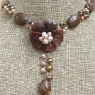 PICTURE JASPER FLOWER & IMPERIAL JASPER PEARLS NECKLACE