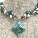 GREEN MOSS AGATE & JADE & FW PEARL NECKLACE