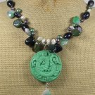 GREEN CINNABAR GOLDSTONE FANCY JASPER JADE NECKLACE