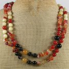 LONG 40 RED CARNELIAN BLACK AGATE YELLOW JADE NECKLACE