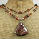 BACCIATED JASPER ARTISTIC JASPER AGATE 2ROW NECKLACE