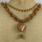 BROWN AGATE & JASPER & FW PEARL 2ROW NECKLACE