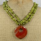 RED AGATE & OLIVE JADE 2ROW NECKLACE