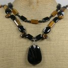 BLACK AGATE & TIGER EYE 2ROW NECKLACE