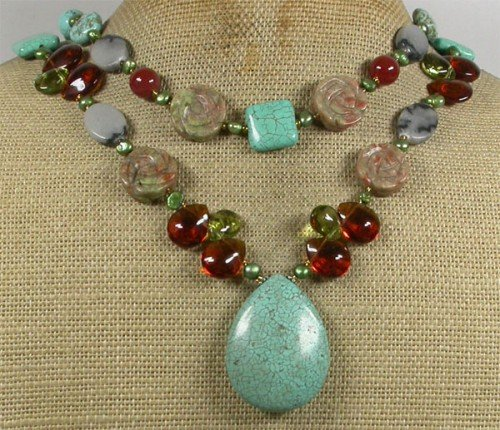 TURQUOISE AUTUMN JASPER CRYSTAL PEARLS 2ROW NECKLACE