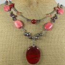 RED JASPER & TURQUOISE & FW PEARL 2ROW NECKLACE