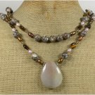 BROWN AGATE & BROWN MOP & TIGER EYE PEARL 2ROW NECKLACE