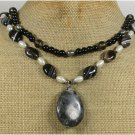 BLACK LABORADITE AGATE CRYSTAL PEARLS 2ROW NECKLACE