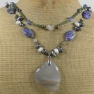 AGATE SODALITE FRESH WATER PEARLS 2ROW NECKLACE