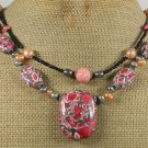 RED TURQUOISE & FRESH WATER PEARLS 2ROW NECKLACE