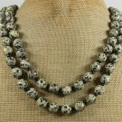 NATURAL DALMATIAN JASPER 2ROW NECKLACE