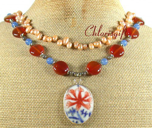 MING DYNASTY POTTERY SHARD AGATE 2ROW NECKLACE