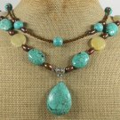 TURQUOISE YELLOW JADE FRESH WATER PEARLS 2ROW NECKLACE