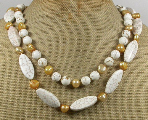 WHITE TURQUOISE & FRESH WATER PEARLS 2ROW NECKLACE
