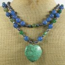 TURQUOISE BLUE GREEN AGATE FW PEARLS 2ROW NECKLACE