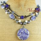 SODALITE & BLUE JADE & FW PEARLS 2ROW NECKLACE