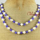 BLUE JADE & FRESH WATER PEARLS 2ROW NECKLACE