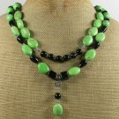 GREEN TURQUOISE & BLACK AGATE 2ROW NECKLACE