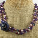 SODALITE FLOWER & PURPLE JADE & CORAL 2ROW NECKLACE