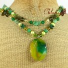 YELLOW GREEN AGATE JADE CRYSTAL 2ROW NECKLACE