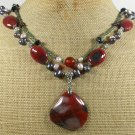 RED AGATE & GARNET & CRYSTAL & PEARLS 2ROW NECKLACE