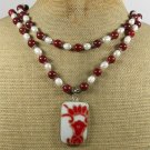 POTTERY SHARD & RED JASPER & FW PEARLS 2ROW NECKLACE