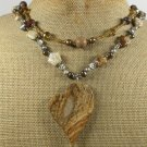 PICTURE JASPER RED TIGER EYE CRYSTAL 2ROW NECKLACE