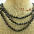 NATURAL BLACK AGATE 3ROW NECKLACE