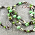 GREEN TURQUOISE & BLACK AGATE PEARLS NECKLACE