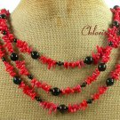 BLACK AGATE & RED CORAL NECKLACE