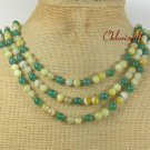 NATURAL YELLOW GREEN AGATE 3ROW NECKLACE