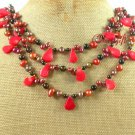 RED CORAL BLACK AGATE FRESH WATER PEARLS NECKLACE