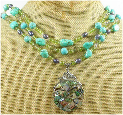 PAUA ABALONE & TURQUOISE & CRYSTAL 3ROW NECKLACE