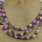 YELLOW GREEN BLUE PURPLE JADE 3ROW NECKLACE