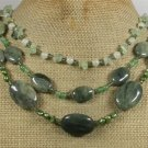 GREEN RUTILATED JASPER JADE QUARTZ PEARL 3ROW NECKLACE